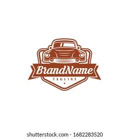 Classic car logo design. Awesome classic car logo. A classic car with shield logotype.