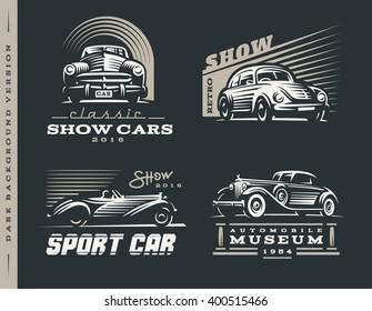 Classic car logos illustrations set.