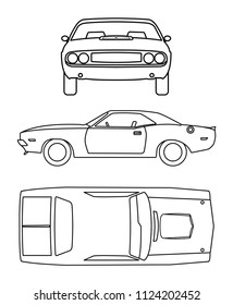 Classic Car Outline With 3 Point of View