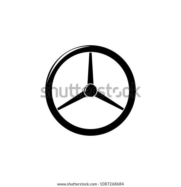 Classic Car Steering Wheel Illustration Element Stock Vector