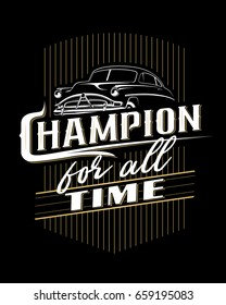 Classic car typography poster on black background.