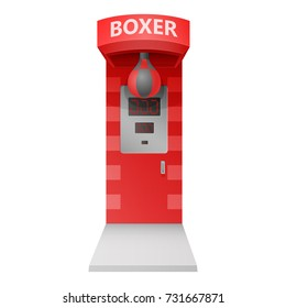 classic carnival fair arcade red electronic punching boxer strength tester strongman game attraction machine  isolated on white background. vector illustration