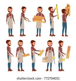 Classic Carpenter Vector. Joiner, Foreman, Engineer. Flat Cartoon Illustration