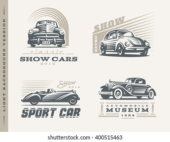 Classic cars logo illustrations on light background