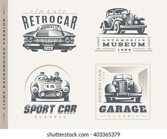 Classic cars logo illustrations on light background. Set