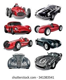 Classic cars vector set.