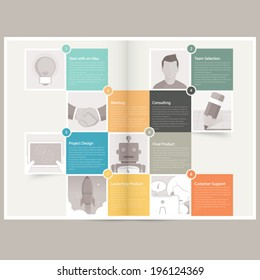 Classic Case Study Booklet: brochure design template for business with concept icons
