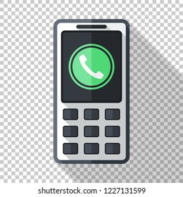 Classic cell phone icon in flat style with green pictogram of incoming call and long shadow on transparent background