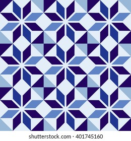 Classic ceramic mosaic tile seamless pattern with abstract geometric shape decoration.  EPS10 vector.