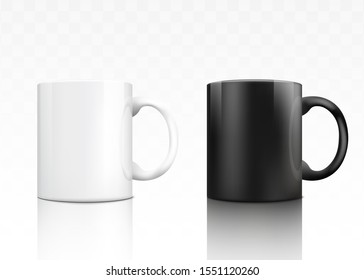 Classic ceramic tea mug set - white and black realistic mugs isolated on transparent background. Hot drink container cup collection with shiny surface - vector illustration.