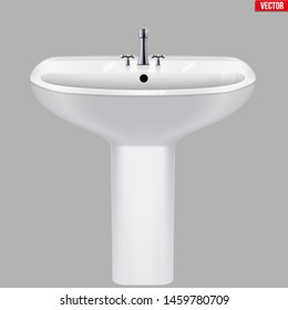 Classic ceramic washbasins with water tap. Porcelain washstand. Front view. Sample Ceramic sink Model with faucet For Bathroom and Restroom. Vector Illustration isolated on white background.