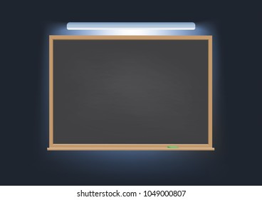 Classic chalk rubbed out school board blackboard. Horizontal wooden frame under electric light, empty space to add copy. Vector illustration simple style concept for education, advertisement, notice.