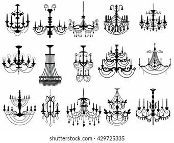 Classic chandelier Set Collection. Luxury decor accessory design. Vector illustration sketch