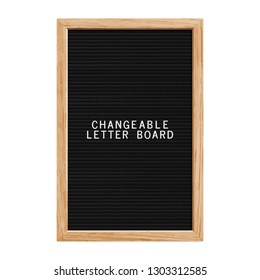 Classic changeable letter board. Realistic wooden vertical frame. Blank board for quotes, notes or messages. Letterboard for plastic letters.