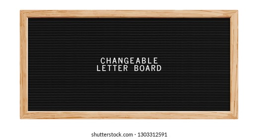 Classic changeable letter board. Realistic wooden horizontal frame. Blank board for quotes, notes or messages. Letterboard for plastic letters.