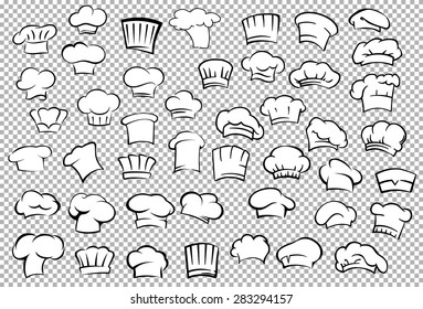 Classic chef toques and baker hats in outline sketch style on gray checkered background for restaurant or cafe kitchen staff uniform design