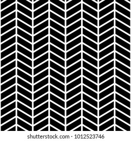 Classic chevron zigzag seamless pattern. Memphis group style black and white background