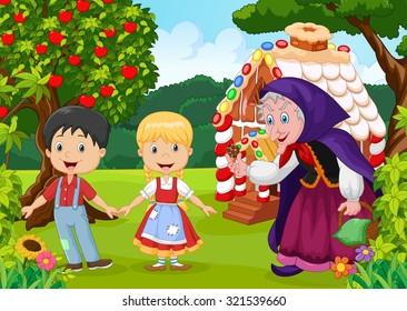 Classic children story. Hansel and Gretel with hag