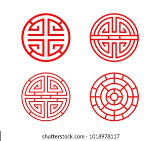 Classic Chinese circle window frame in vector design