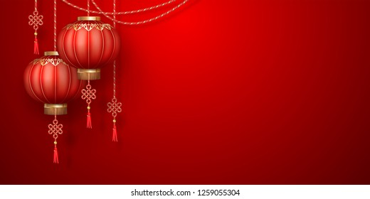 Classic Chinese new year background. Hanging paper lanterns on red background
