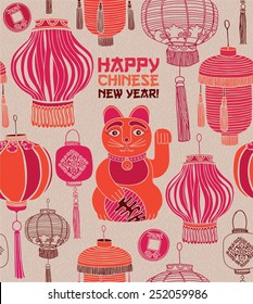 Classic Chinese new year card. Chinese lanterns and lucky cat.