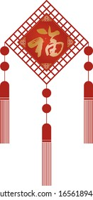 The Classic Chinese New Year's Day's Label Template With The Chinese Word 'Fortune' Hanging The Chinese Knot