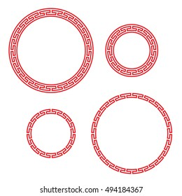 Classic Chinese red round window and photo frame