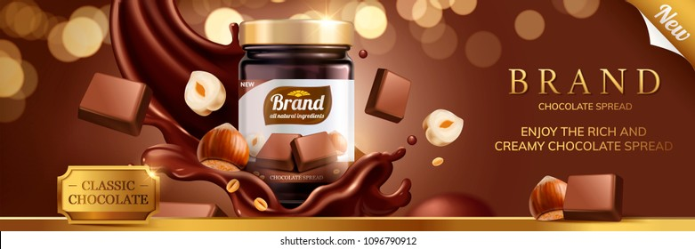 Classic chocolate spread ads with splashing sauce pouring down from top on glitter bokeh background