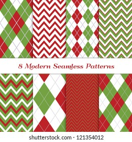 Classic Christmas Backgrounds. 8 Seamless Chevron and Argyle Patterns in Green, Dark Red, White and Silver. Global colors - easy to change all patterns. Nice background for Scrapbook or Photo Collage.