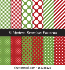 Classic Christmas Backgrounds. Red and Green Jumbo Polka Dot, Gingham and Stripes Seamless Patterns. Pattern Swatches made with Global Colors. Matches my other patterns Image ID: 121354012.
