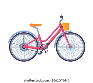 Classic City Bicycle, Ecological Sport Transport, Pink Women Bike Side View Flat Vector Illustration