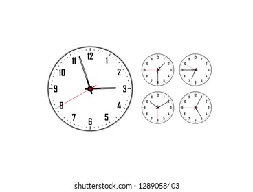 classic clock with a white dial and four smaller ones
