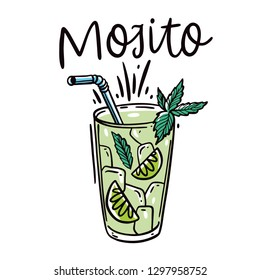 Classic cocktail Mojito hand drawn vector illustration and lettering. Isolated on white background.