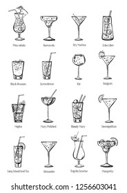 Classic cocktails set. Sixteen drinks collection. Vector sketch outline hand drawn illustration isolated on white background