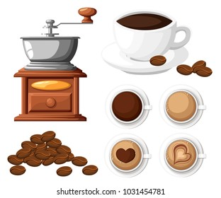 Classic coffee grinder with a bunch of coffee beans manual coffee mill and a cup of coffee cup vector illustration isolated on white background.