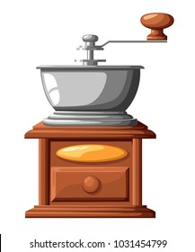 Classic coffee grinder manual coffee mill vector illustration isolated on white background.