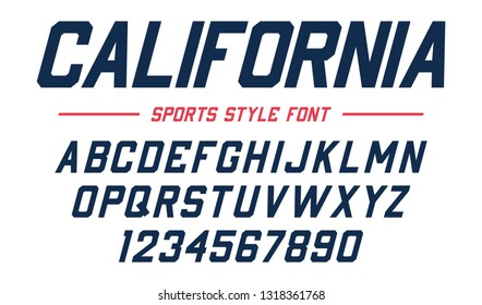 Classic college font. Vintage sport sans serif, beveled font in american style for football, soccer, baseball and basketball. Alphabet and numbers in varsity style