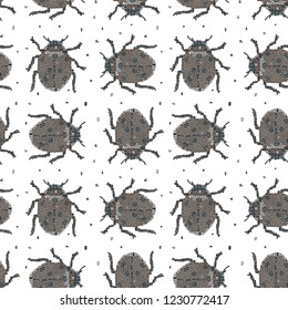 Classic colors vector seamless pattern in Mondriaan (Mondrian) style beige beetles on a white background for bedding, textile, wallpaper, wrapping, furnishings, upholstery, cover page, web site.