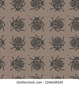 Classic colors vector seamless pattern in Mondriaan (Mondrian) style beige beetles. Background for bedding, textile, card, wrapping, furnishings, upholstery, cover page, typographic print, banner.