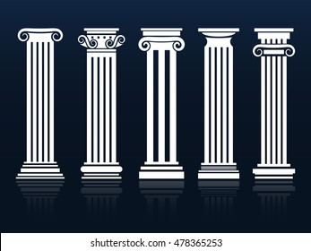 Classic columns. Ancient vector architecture roman and greek pedestal column set illustration