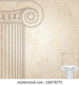 Classic columns background. Roman Engraving background for architectural design