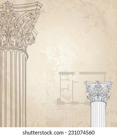 Classic columns seamless background. Roman corinthian column. Illustration on white background for design sketch
