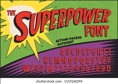 A classic comic book logo-styled alphabet called The Superpower Font