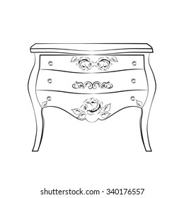 Classic commode  furniture with royal luxury ornaments and drawers. Vector
