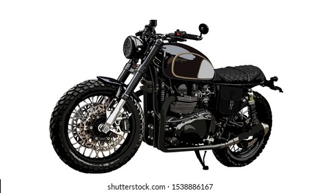 Classic crambler motorcycle. Motorbike cafe retro. Vintage custom.Vector illustration.