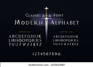 Classic cursive stylized font and the alphabet. Background with sword and fog. Set of letters english alphabet. uppercase letters, lowercase letters and numbers
