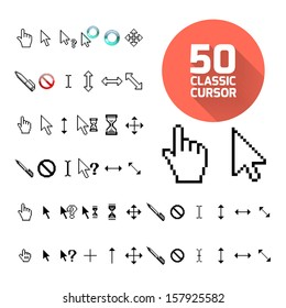 Classic cursor pack. Vector illustration for design