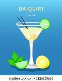 classic daiquiri. popular alcoholic cocktail daiquiri. exotic tropical beach bar. fresh drink in glass cup with lime,mint,lemon. modern flat cartoon vector illustration. daiquiri. daiquiri cocktail