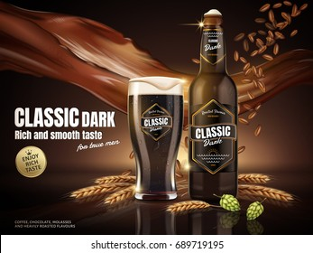 Classic dark beer in glass bottle with malt and beverage floating in the air, 3d illustration