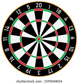 The classic dart board and darts arrow isolated on white background.